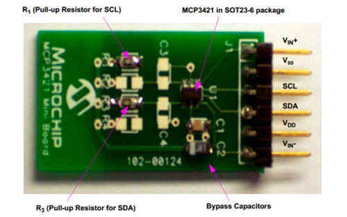 I2C MCP3421 SOT23-6 delta-sigma ADC Evaluation Board for PICkit Serial Analyzer